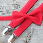 Solid red bow ties & suspenders