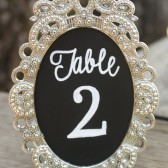 Chalkboard Table Numbers in Mini Vintage Style Frame