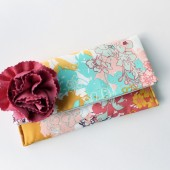 Clutch Purse, Coral Peach and Aqua, Flower Brooch
