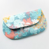 Bridal Clutch Purse, Spring Flowers, Aqua and Coral