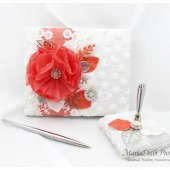 Guest Book Pen Holder Set, Wedding Lace Guest Book, White Coral Book, Birthday Book, Custom Bridal Flower Brooch Guest Book, Signature Book