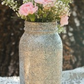 Glitter Mason Jars - Quart Size Set of 12