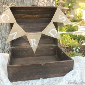"Rustic Wood ""Cards"" Trunk with Mini Burlap Banner"