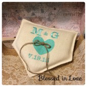 Baseball burlap ring pillow with Tiffany blue