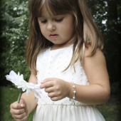 Chloe flower girl pearl bracelet with pearl drop charm