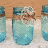 Vintage Style Blue Lace and Twine Mason Jars - Set of 3 - Pint Size