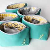 Personalized Monogrammed Cosmetic Bags, Turquoise and Yellow