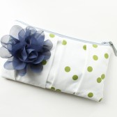 Bridesmaid Clutch, Navy and Green, Polka Dots
