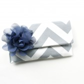 Clutch Purse, Grey Chevron and Navy