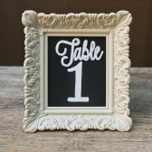 Chalkboard Table Numbers in Distressed Ivory Frames