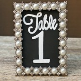 Chalkboard Table Numbers in Vintage Style Pearl Frames