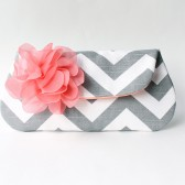 Wedding Clutch Purse, Coral and Gray, Chevron