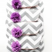 Bridesmaid Clutch Set, Grey and Purple, Chevron
