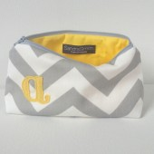 Monogram Cosmetic Bag, Grey & Buttercup, Pale Yellow, Pastel, Personalized custom Bridal Bag