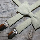 Sage green heather polyester bow ties & suspenders