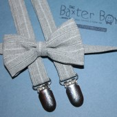 Grey polyester pinstripe bow ties & suspenders