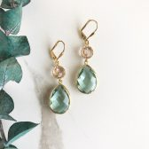 Erinite and Champagne Dangle Earrings. Bridesmaids Gift. Bridal Earrings.