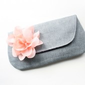 Peach and Grey Clutch Purse