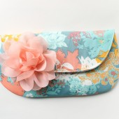 Aqua and Coral Peach Bridesmaid Clutch