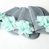 Bridesmaid Clutch Set, Grey and Mint