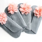 Peach and Gray Clutch Set