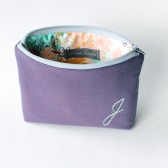 Personalized Cosmetic Bag, Purple and Grey