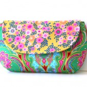 emerald green clutch purse with mustard floral flap