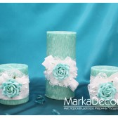 Wedding Candles Unit set of 3 in Mint light Teal and White