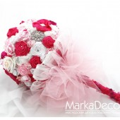 Brooch Bouquet Bridal Bouquet Jewelled Bouquet in White, Fuchsia and Pink