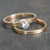 14k Gold and White Sapphire Engagement Ring