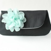 Black and Mint Bridesmaid Wedding Clutch