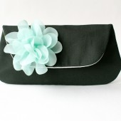 Bridal Clutch in Black and Mint