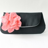 Clutch Purse, Black and Coral Pink