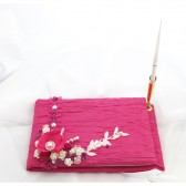 Wedding Guest Book with a Guest Pen in Pink, White and Fuchsia
