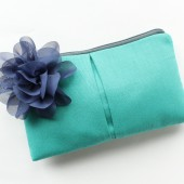 Aqua and Navy Clutch