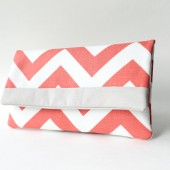 Coral and Gray Chevron Clutch