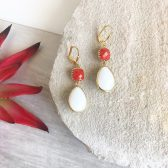 White and Red Dangle Earrings.