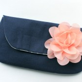 Navy and Peach Clutch
