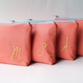 Personalized Cosmetic Bag Set, Monogrammed Make Up Bag