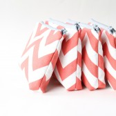 Bridesmaid Gift, Coral Chevron Cosmetic Bag Set