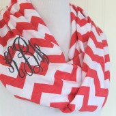 Monogrammed Coral Chevron Infinity Scarf