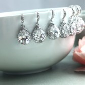 Set of Six, 6 pairs of Pear, Teardrop Large Lux Cubic Zirconia White Crystal Wedding Earrings