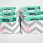 Set of 6 Pink Mint Grey Personalized Cosmetic Bags