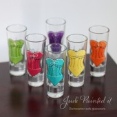 Personalized bridesmaid corset shot glasses