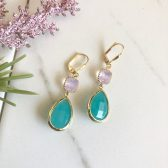 Aqua and Pink Opal Dangle Earrings in Gold.