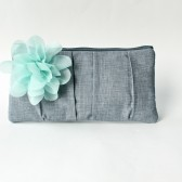 Mint and Gray Clutch Purse