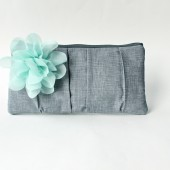 Pleated Clutch, Gray and Mint