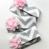 Chevron Clutch Set, Pink and Gray