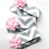Chevron Clutch Set, Gray and Pink