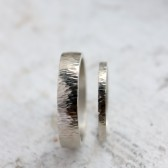 Hammered 14k White Gold Wedding Band Set